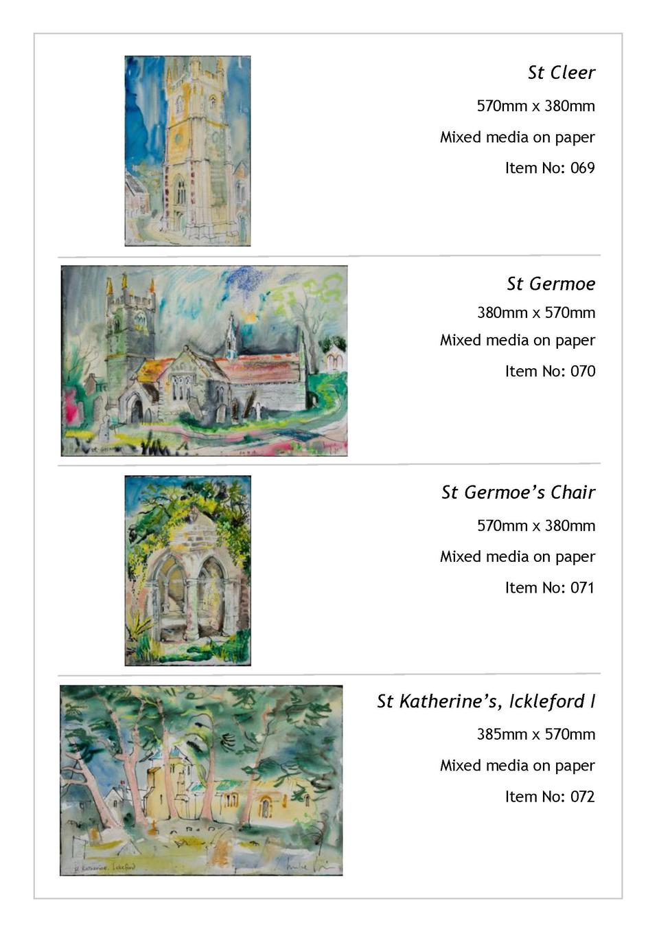 St Cleer 570mm x 380mm Mixed media on paper  Mary Tavy 380mm x 570mm Mixed media on paper  Item No  069  Item No  041  St ...