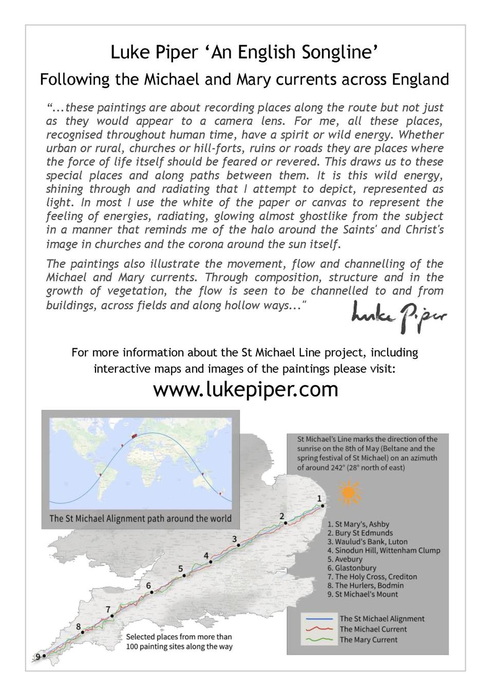 Luke Piper    An English Songline    Following the Michael and Mary currents across England    ...these paintings are abou...