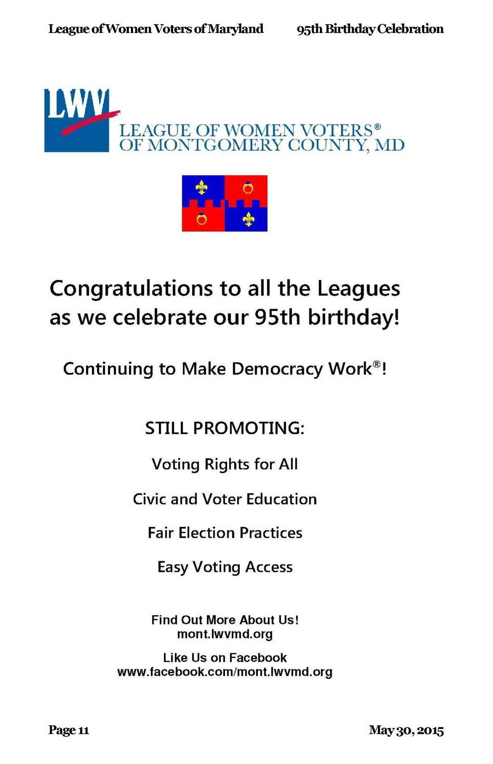 League of Women Voters of Maryland  Page 14  95th Birthday Celebration  May 30, 2015  League of Women Voters of Maryland  ...