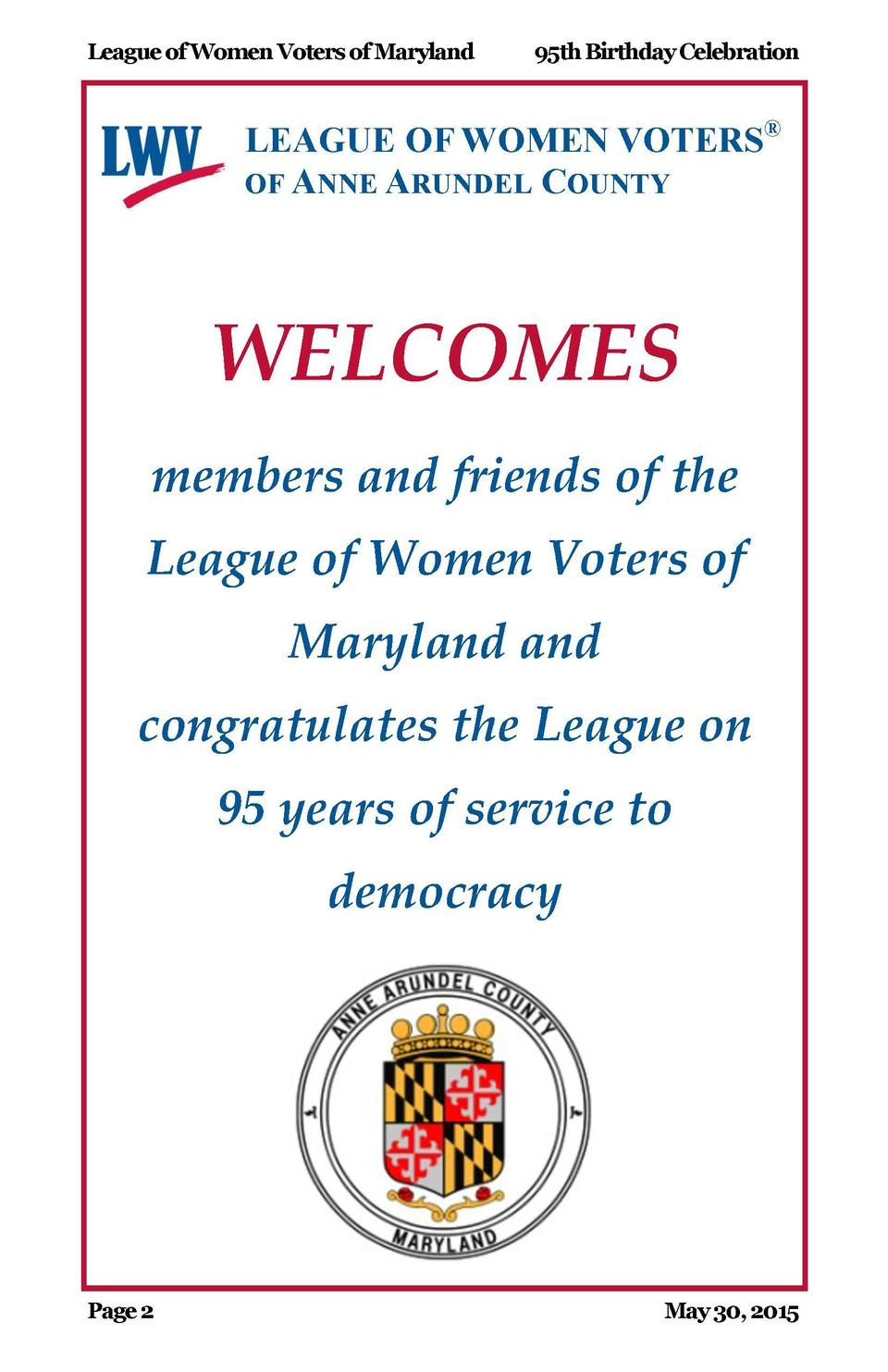 League of Women Voters of Maryland  95th Birthday Celebration  League of Women Voters of Maryland  95th Birthday Celebrati...
