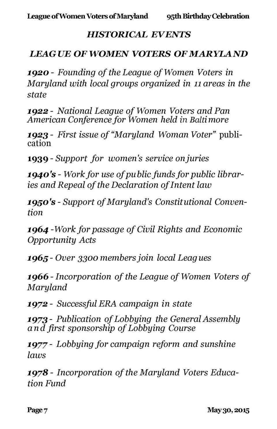 League of Women Voters of Maryland  95th Birthday Celebration  League of Women Voters of Maryland  Queen Anne   s County  ...