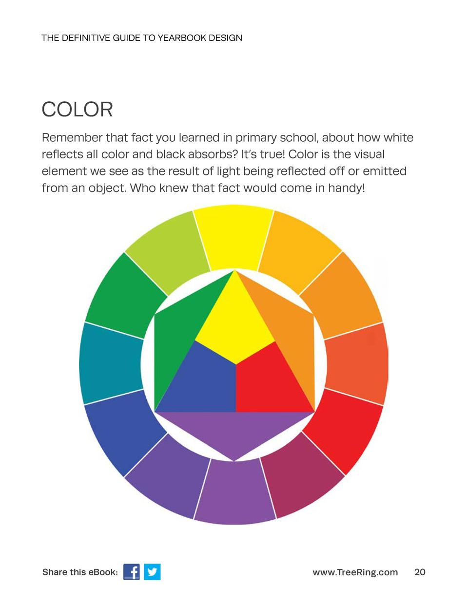 THE DEFINITIVE GUIDE TO YEARBOOK DESIGN  COLOR Remember that fact you learned in primary school, about how white reflects ...