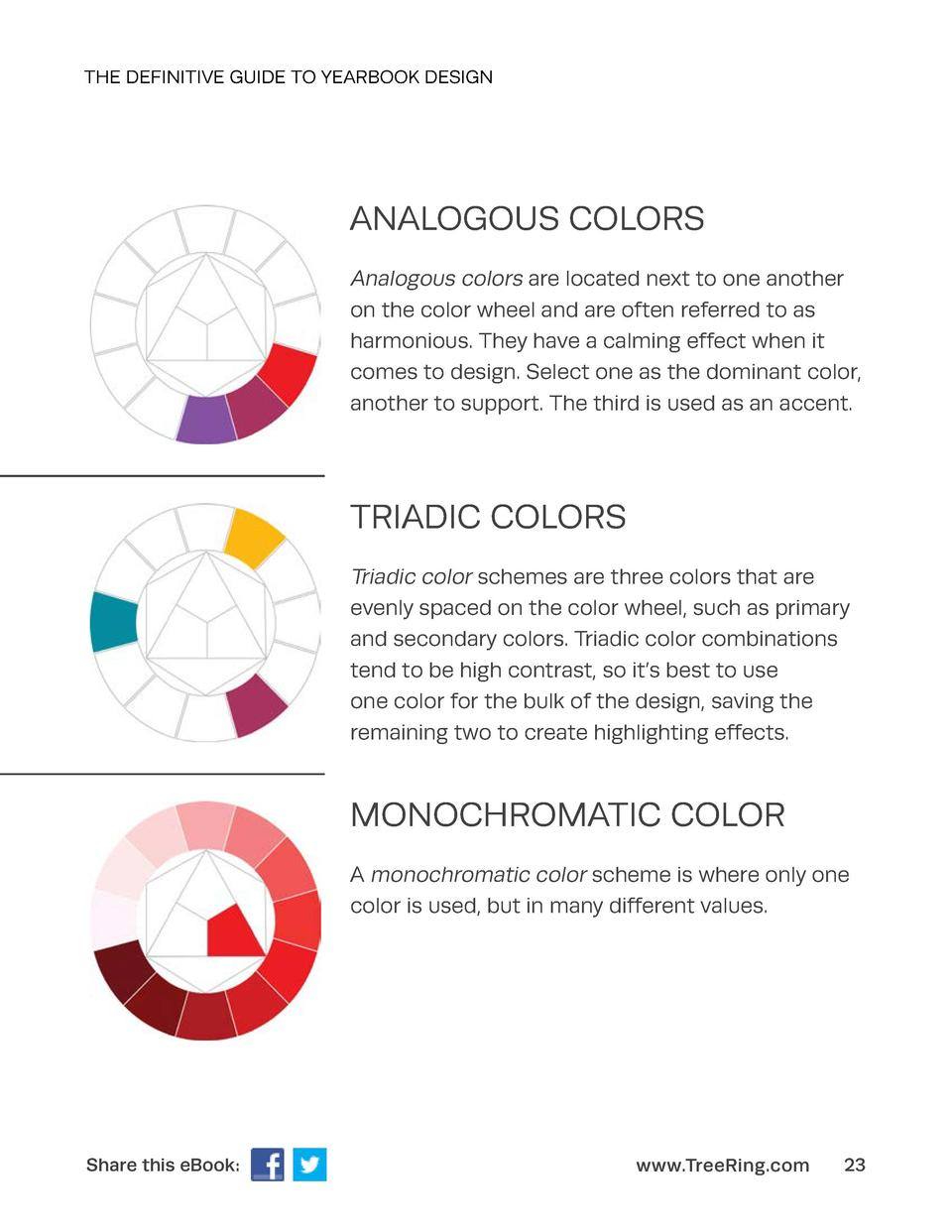 THE DEFINITIVE GUIDE TO YEARBOOK DESIGN  ANALOGOUS COLORS Analogous colors are located next to one another on the color wh...