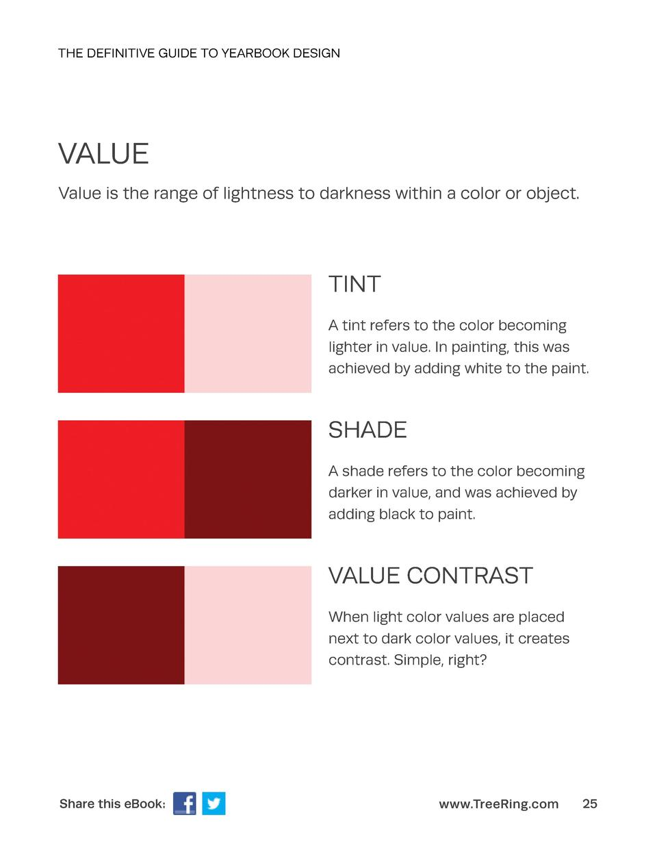 THE DEFINITIVE GUIDE TO YEARBOOK DESIGN  VALUE Value is the range of lightness to darkness within a color or object.  TINT...