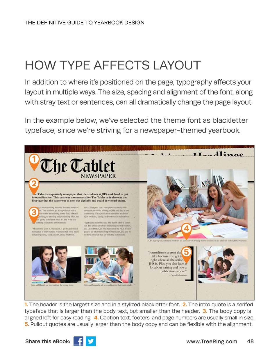 THE DEFINITIVE GUIDE TO YEARBOOK DESIGN  HOW TYPE AFFECTS LAYOUT In addition to where it   s positioned on the page, typog...