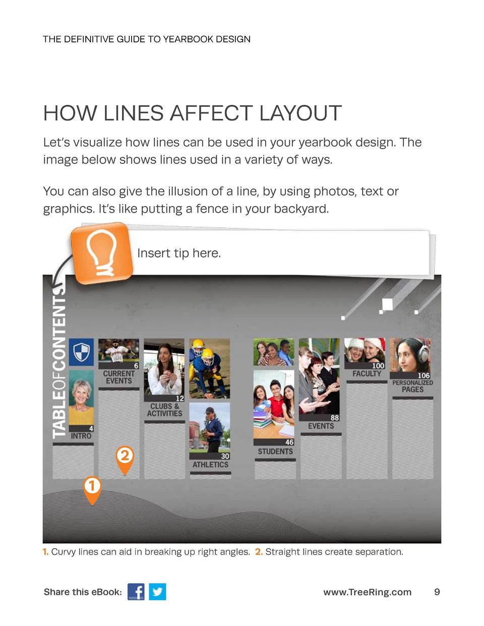 THE DEFINITIVE GUIDE TO YEARBOOK DESIGN  HOW LINES AFFECT LAYOUT Let   s visualize how lines can be used in your yearbook ...