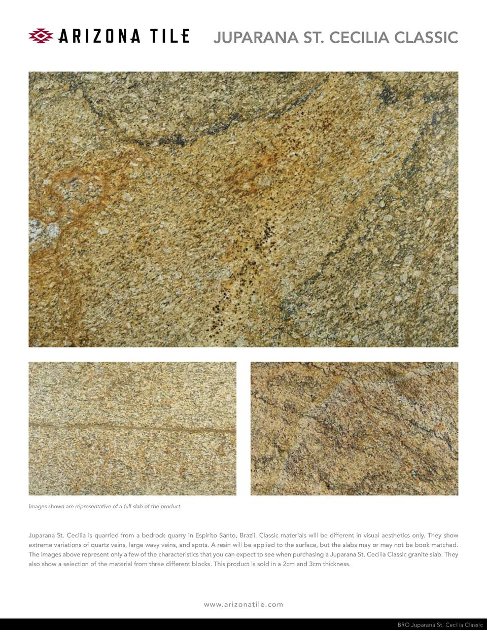 JUPARANA ST. CECILIA CLASSIC  Images shown are representative of a full slab of the product.  Juparana St. Cecilia is quar...