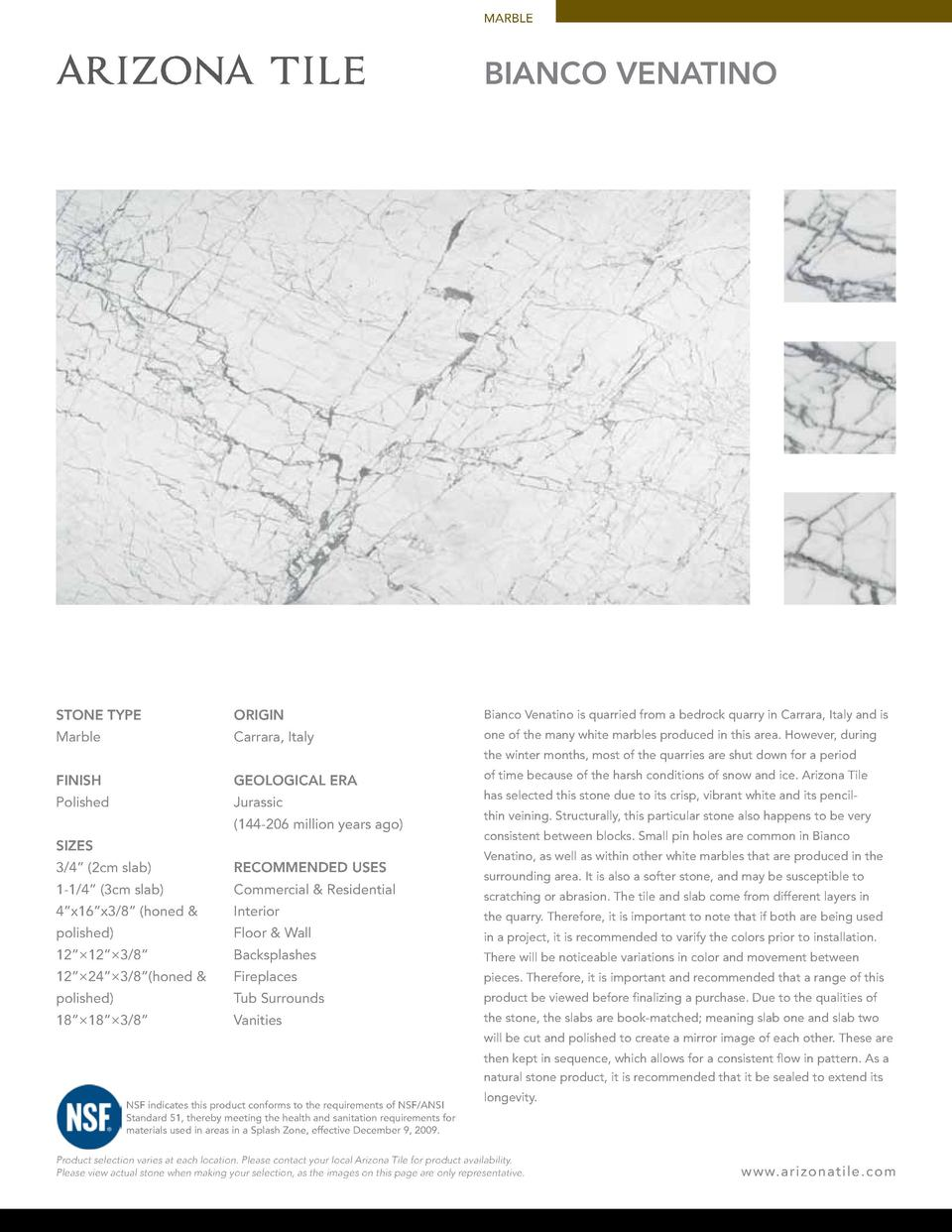 MARBLE  BIANCO VENATINO  STONE TYPE  ORIGIN  Bianco Venatino is quarried from a bedrock quarry in Carrara, Italy and is  M...