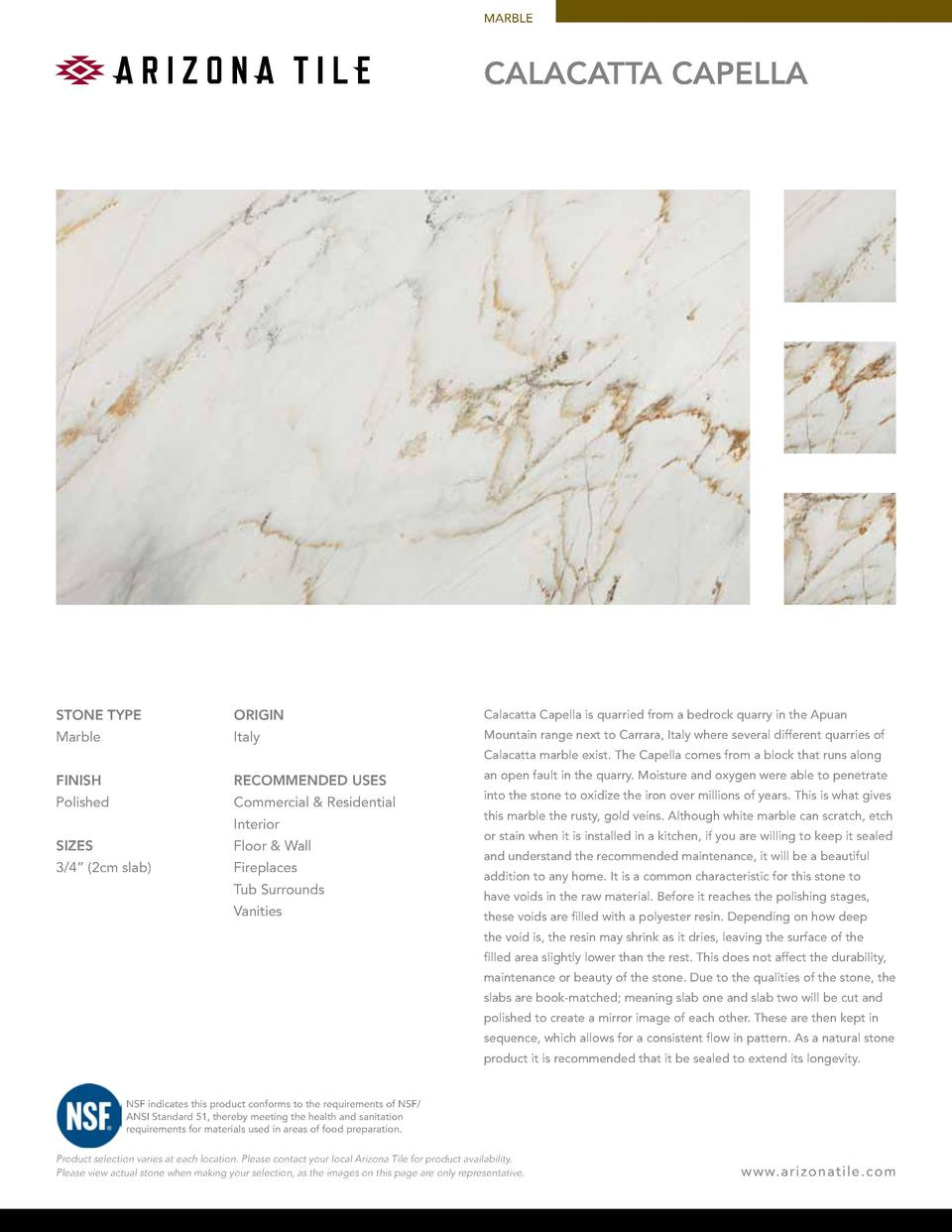 MARBLE  CALACATTA CAPELLA  STONE TYPE  ORIGIN  Calacatta Capella is quarried from a bedrock quarry in the Apuan  Marble  I...
