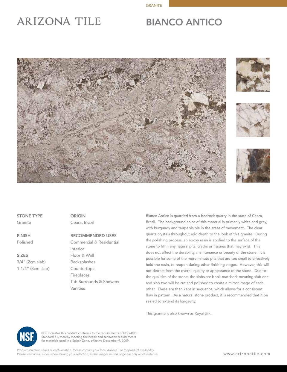 GRANITE  BIANCO ANTICO  STONE TYPE  ORIGIN  Bianco Antico is quarried from a bedrock quarry in the state of Ceara,  Granit...