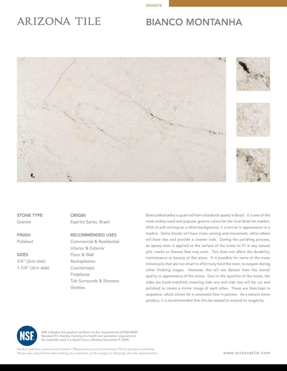 GRANITE  Bianco Montanha  STONE TYPE  ORIGIN  Bianco Montanha is quarried from a bedrock quarry in Brazil. It is one of th...