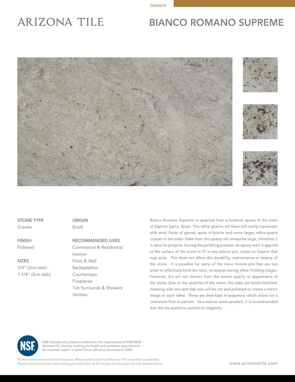 GRANITE  BIANCO ROMANO SUPREME  STONE TYPE  ORIGIN  Bianco Romano Supreme is quarried from a bedrock quarry in the state  ...