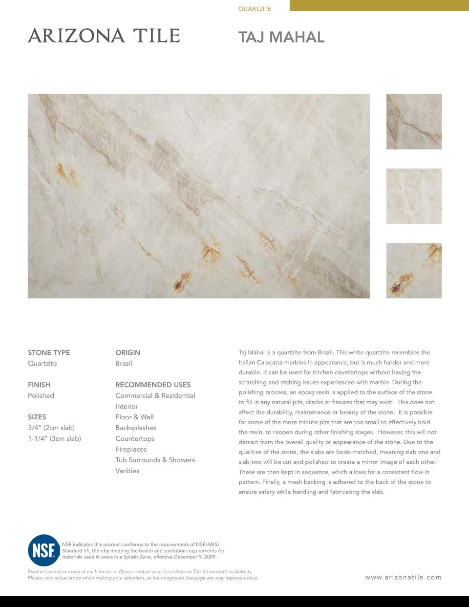 QUARTZITE  TAJ MAHAL  STONE TYPE  ORIGIN  Taj Mahal is a quartzite from Brazil. This white quartzite resembles the  Quartz...