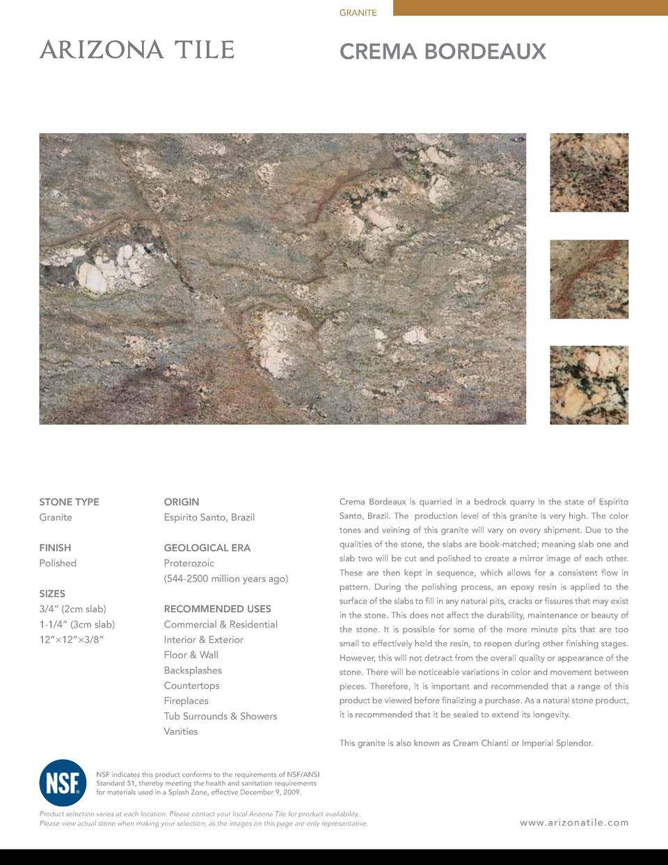 GRANITE  CREMA BORDEAUX  STONE TYPE  ORIGIN  Crema Bordeaux is quarried in a bedrock quarry in the state of Espirito  Gran...