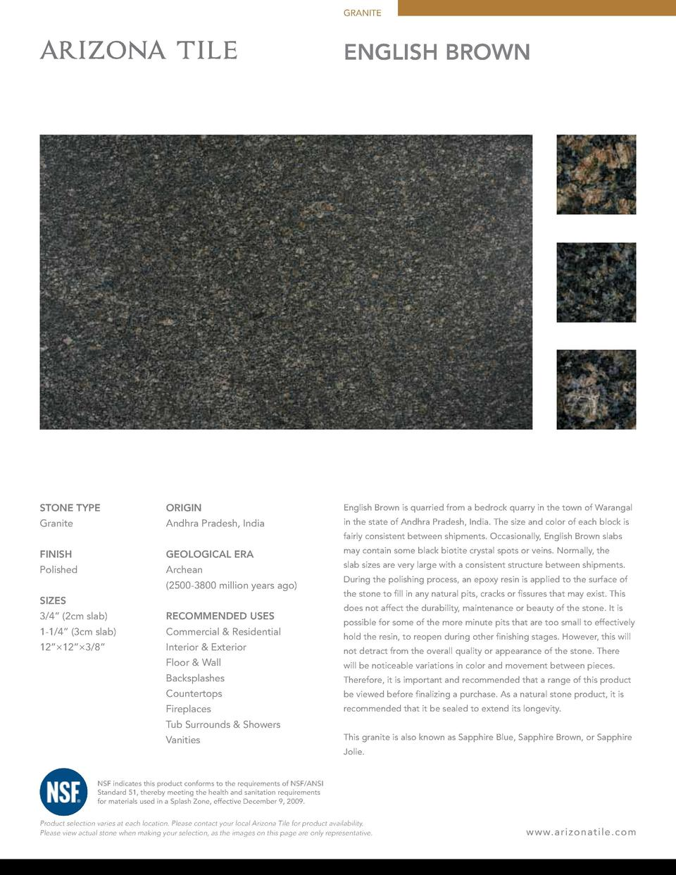 GRANITE  ENGLISH BROWN  STONE TYPE  ORIGIN  English Brown is quarried from a bedrock quarry in the town of Warangal  Grani...