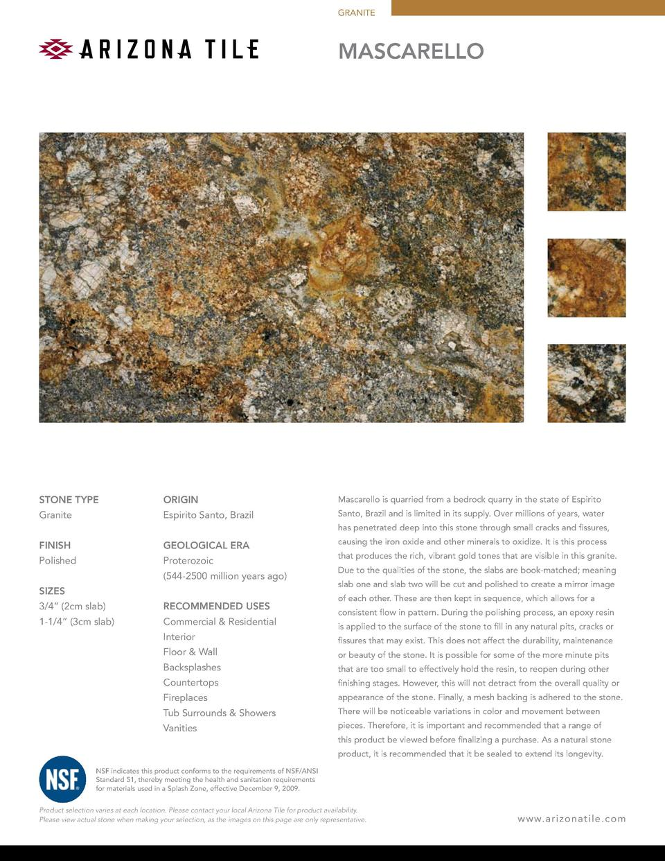 GRANITE  MASCARELLO  STONE TYPE  ORIGIN  Mascarello is quarried from a bedrock quarry in the state of Espirito  Granite  E...