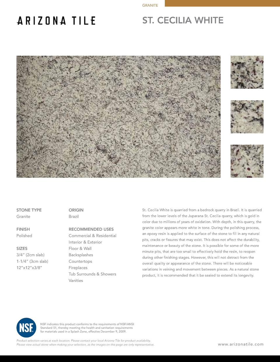 GRANITE  ST. CECiLIA WHITE  STONE TYPE  ORIGIN  St. Cecilia White is quarried from a bedrock quarry in Brazil. It is quarr...