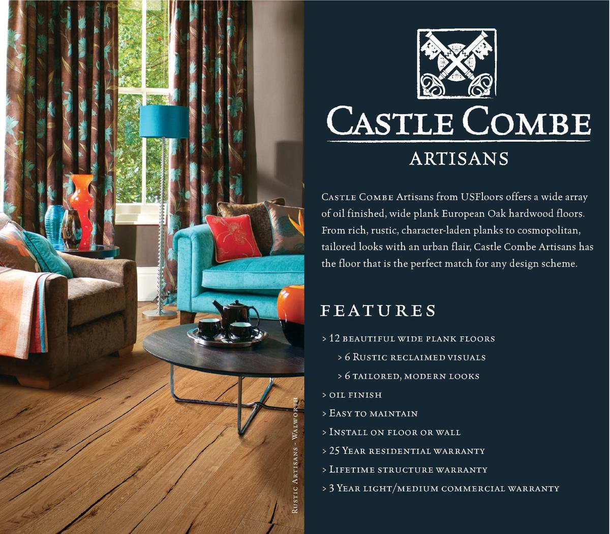 Castle Combe Artisans from USFloors offers a wide array of oil finished, wide plank European Oak hardwood floors. From ric...