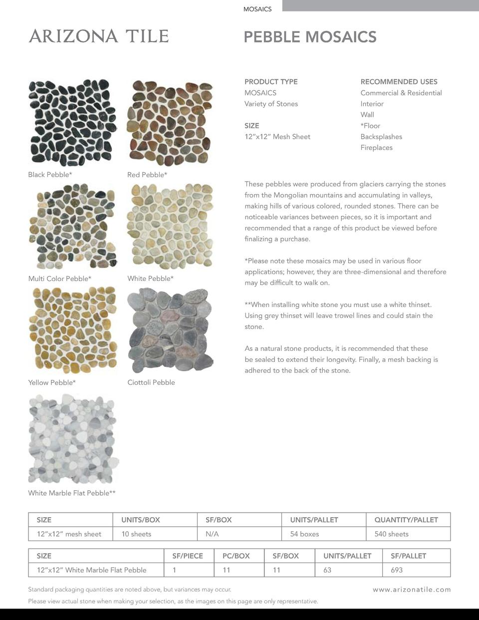 MOSAICS  PEBBLE MOSAICS PRODUCT TYPE  RECOMMENDED USES  MOSAICS  Commercial   Residential  Variety of Stones  Interior Wal...