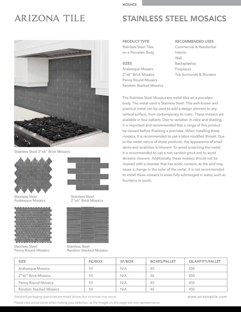 MOSAICS  STAINLESS STEEL MOSAICS PRODUCT TYPE  RECOMMENDED USES  Stainless Steel Tiles  Commercial   Residential  on a Por...