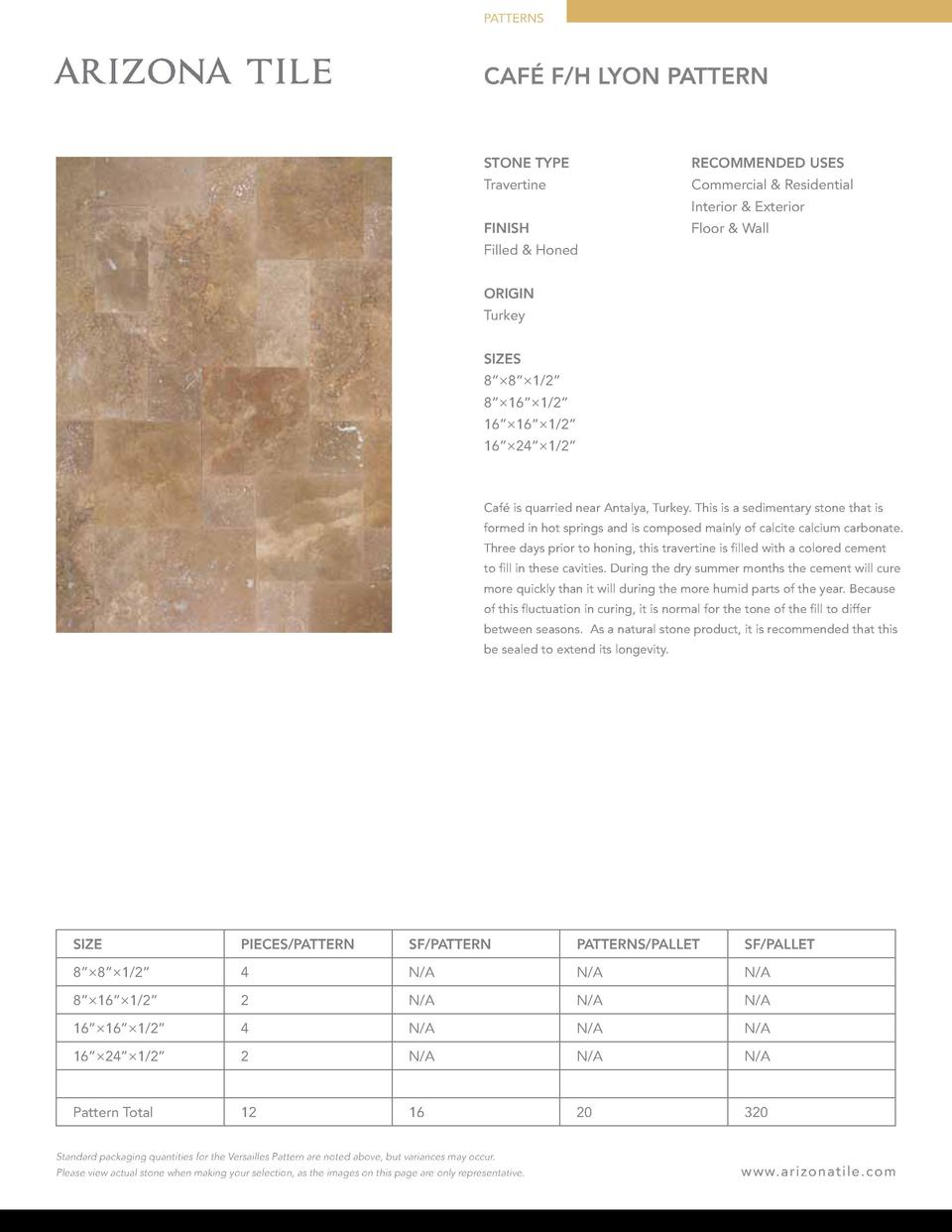 PATTERNS  CAF   F H LYON PATTERN  STONE TYPE  RECOMMENDED USES  Travertine  Commercial   Residential Interior   Exterior  ...