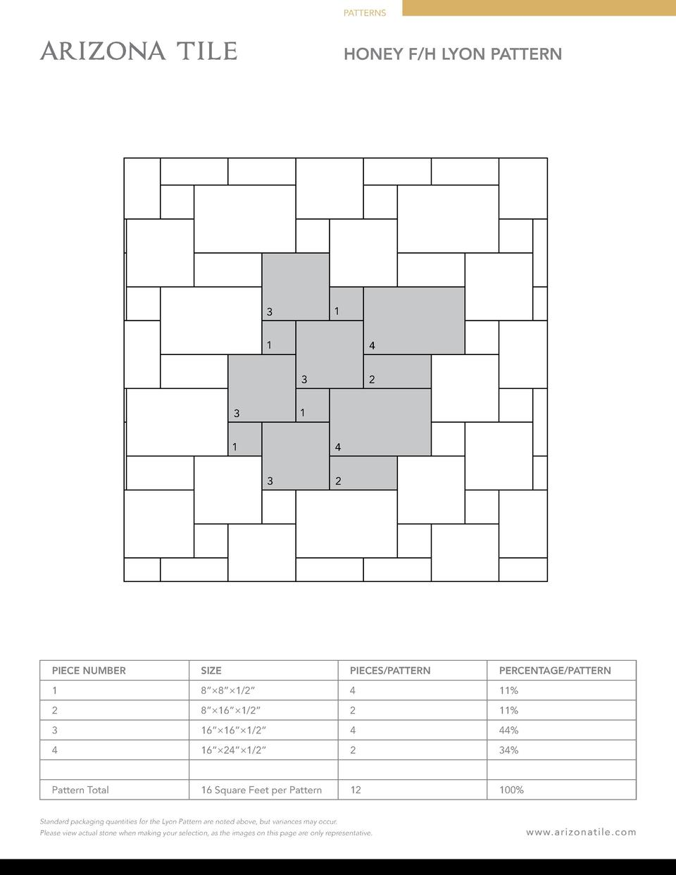 PATTERNS  HONEY F H LYON PATTERN  1  3 1  4 3  2  1  3 1  4 3  2  PIECE NUMBER  SIZE  PIECES PATTERN  PERCENTAGE PATTERN  ...