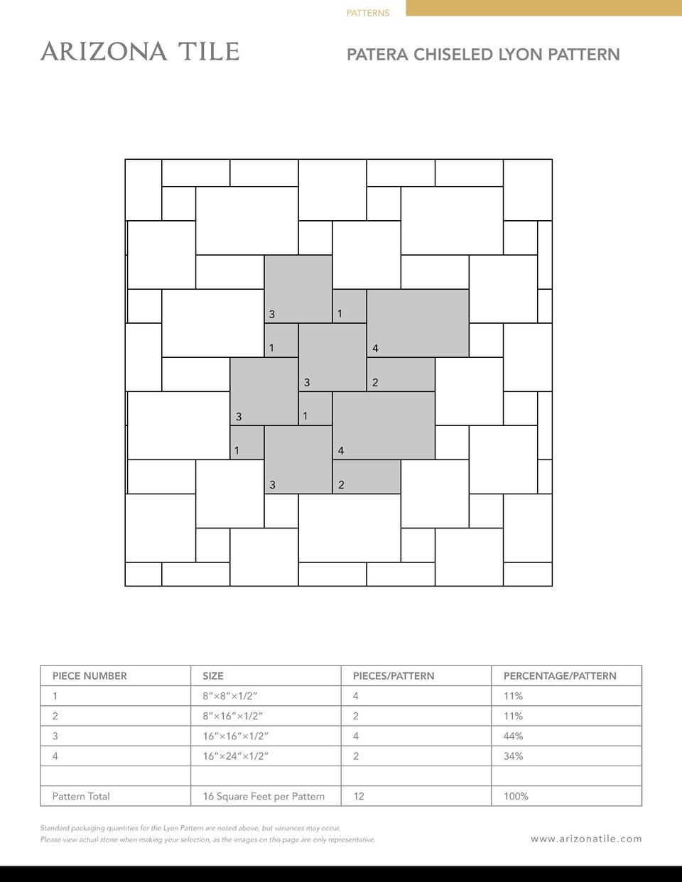 PATTERNS  PATERA CHISELED LYON PATTERN  1  3 1  4 3  2  1  3 1  4 3  2  PIECE NUMBER  SIZE  PIECES PATTERN  PERCENTAGE PAT...