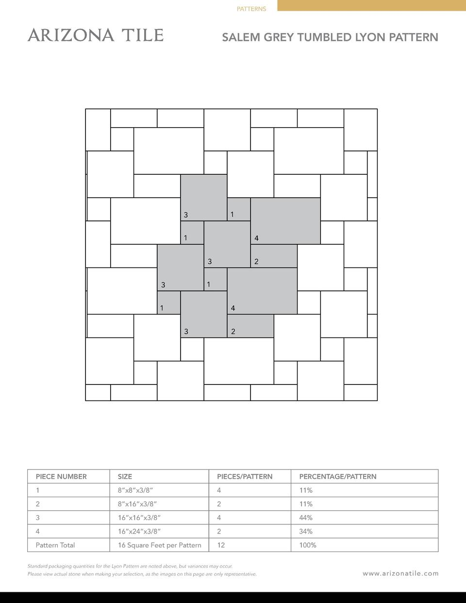 PATTERNS  SALEM GREY TUMBLED LYON PATTERN  1  3 1  4 3  2  1  3 1  4 3  2  PIECE NUMBER  SIZE  PIECES PATTERN  PERCENTAGE ...