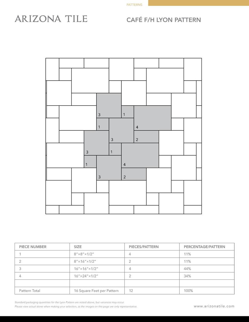 PATTERNS  CAF   F H LYON PATTERN  1  3 1  4 3  2  1  3 1  4 3  2  PIECE NUMBER  SIZE  PIECES PATTERN  PERCENTAGE PATTERN  ...