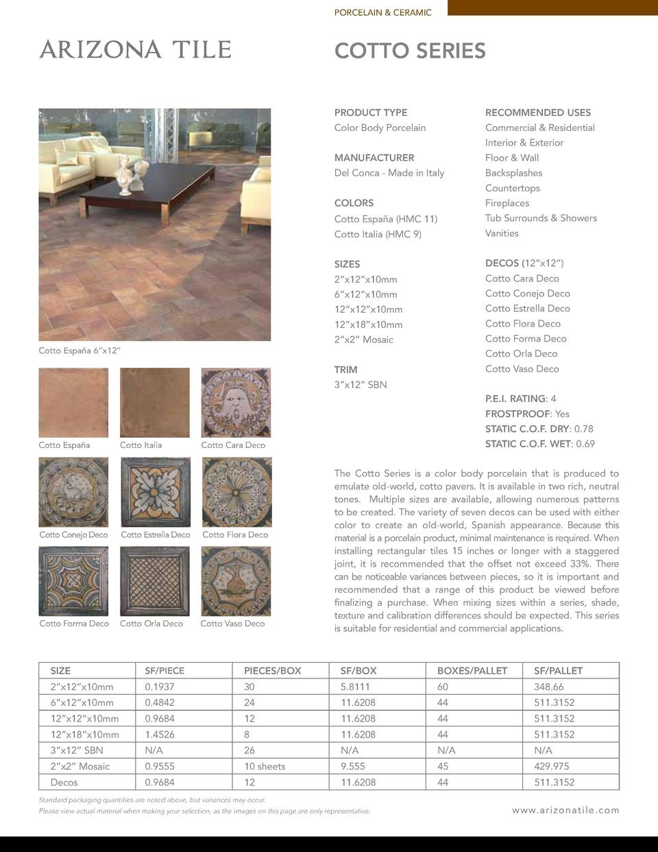 PORCELAIN   CERAMIC  COTTO SERIES PRODUCT TYPE  RECOMMENDED USES  Color Body Porcelain  Commercial   Residential Interior ...
