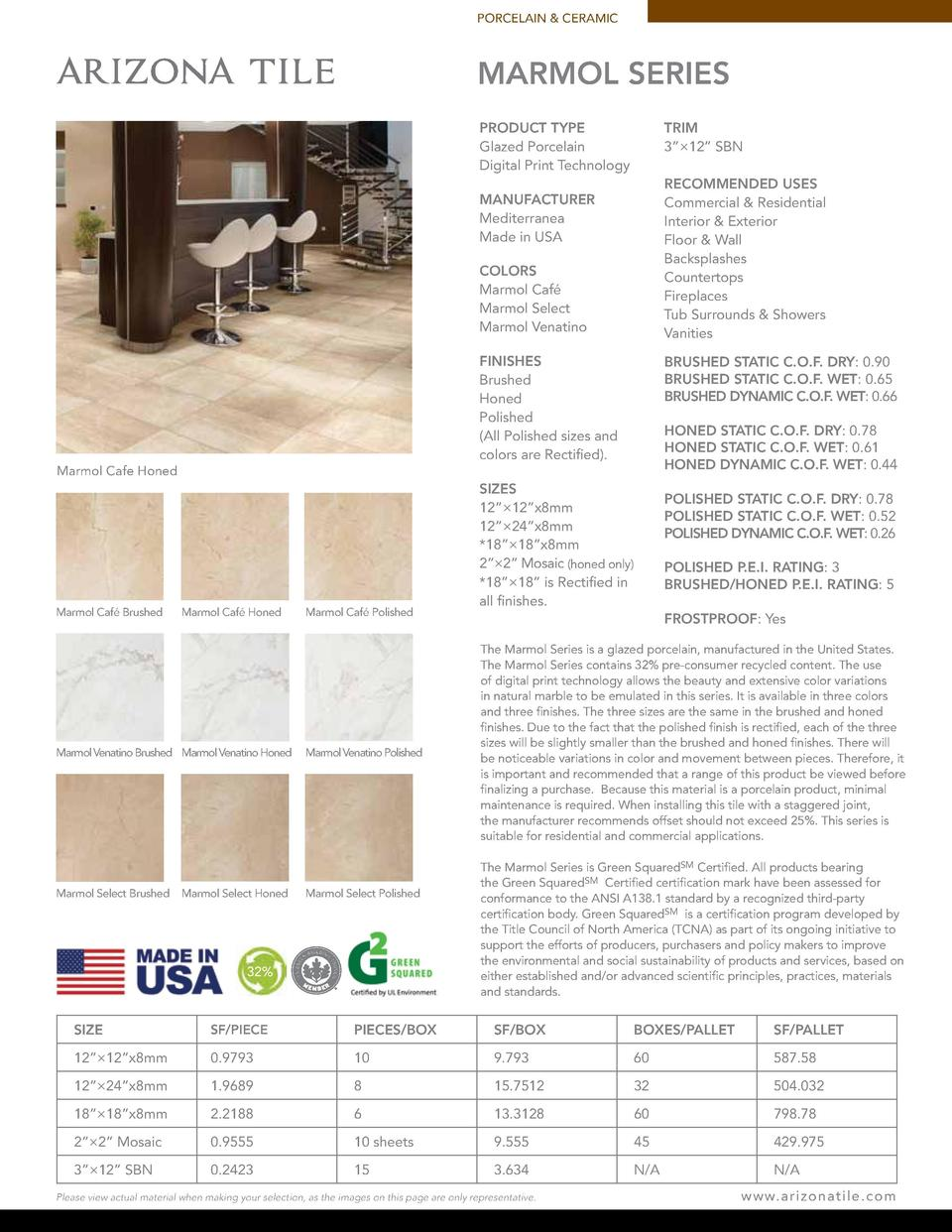 PORCELAIN   CERAMIC  MARMOL SERIES PRODUCT TYPE Glazed Porcelain Digital Print Technology  TRIM 3     12    SBN RECOMMENDE...