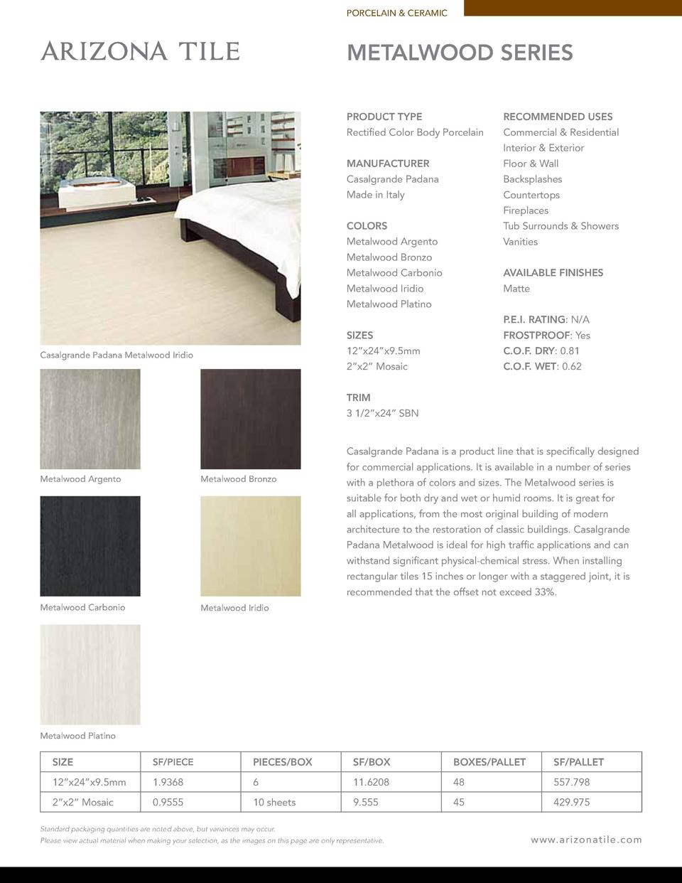 PORCELAIN   CERAMIC  METALWOOD SERIES PRODUCT TYPE  RECOMMENDED USES  Rectified Color Body Porcelain  Commercial   Residen...