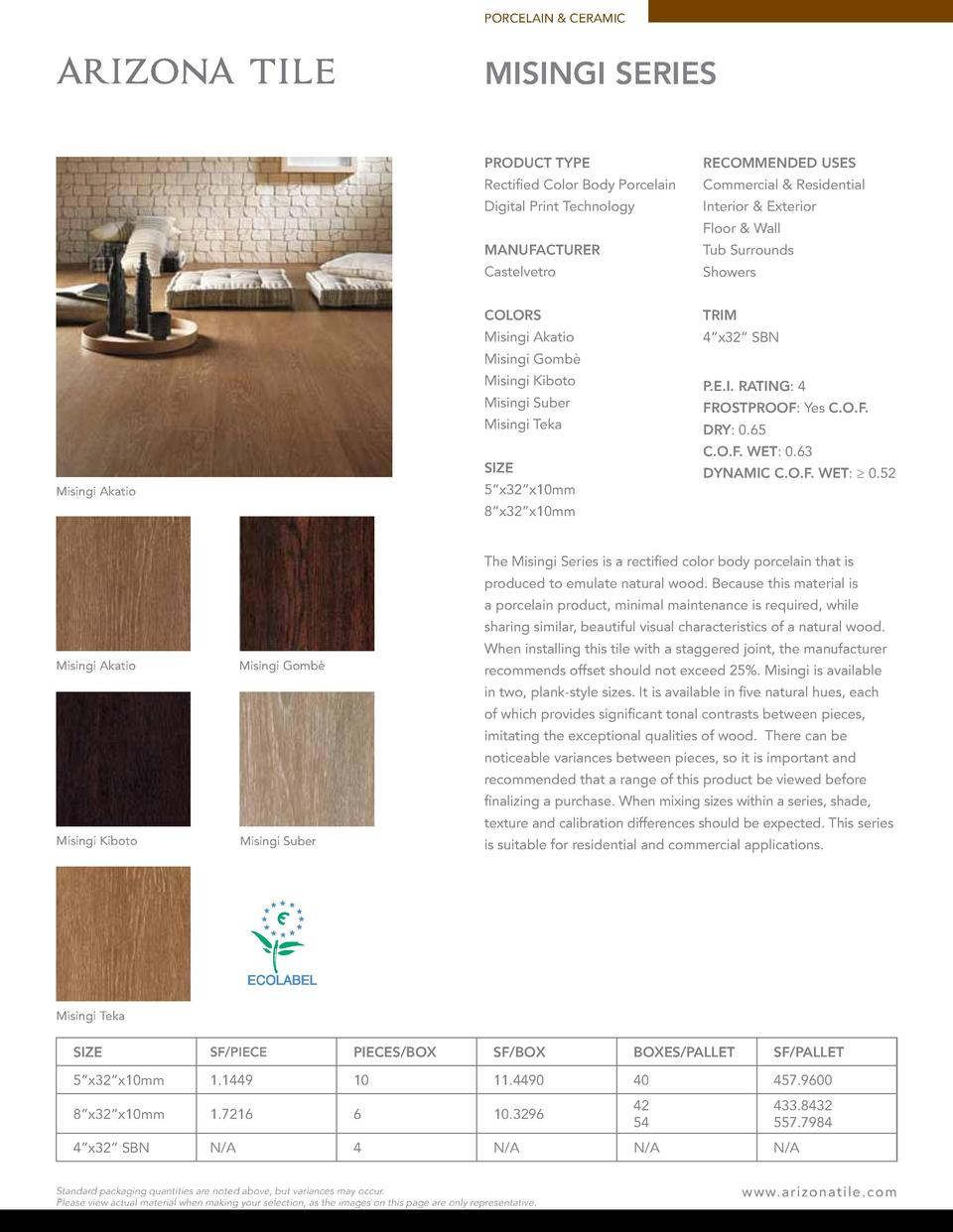 PORCELAIN   CERAMIC  MISINGI SERIES PRODUCT TYPE  RECOMMENDED USES  Rectified Color Body Porcelain  Commercial   Residenti...