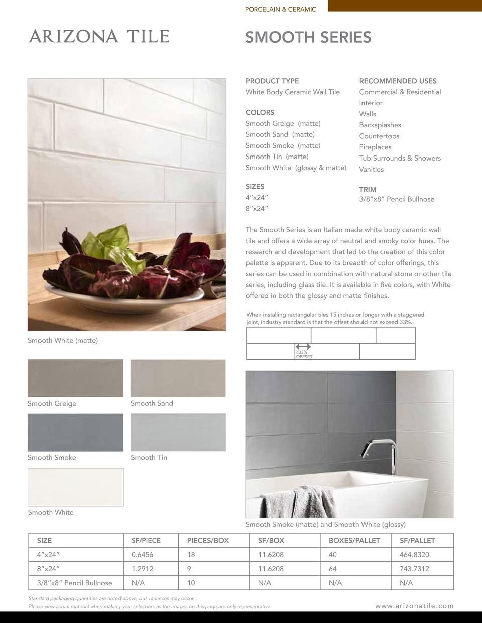 PORCELAIN   CERAMIC  SMOOTH SERIES PRODUCT TYPE  RECOMMENDED USES  White Body Ceramic Wall Tile  Commercial   Residential ...