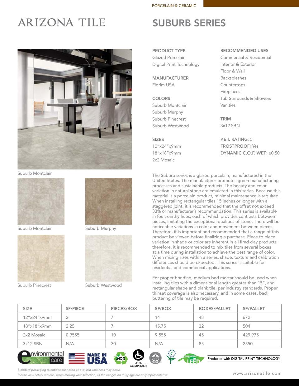 PORCELAIN   CERAMIC  SUBURB SERIES PRODUCT TYPE  RECOMMENDED USES  Glazed Porcelain  Commercial   Residential  Digital Pri...