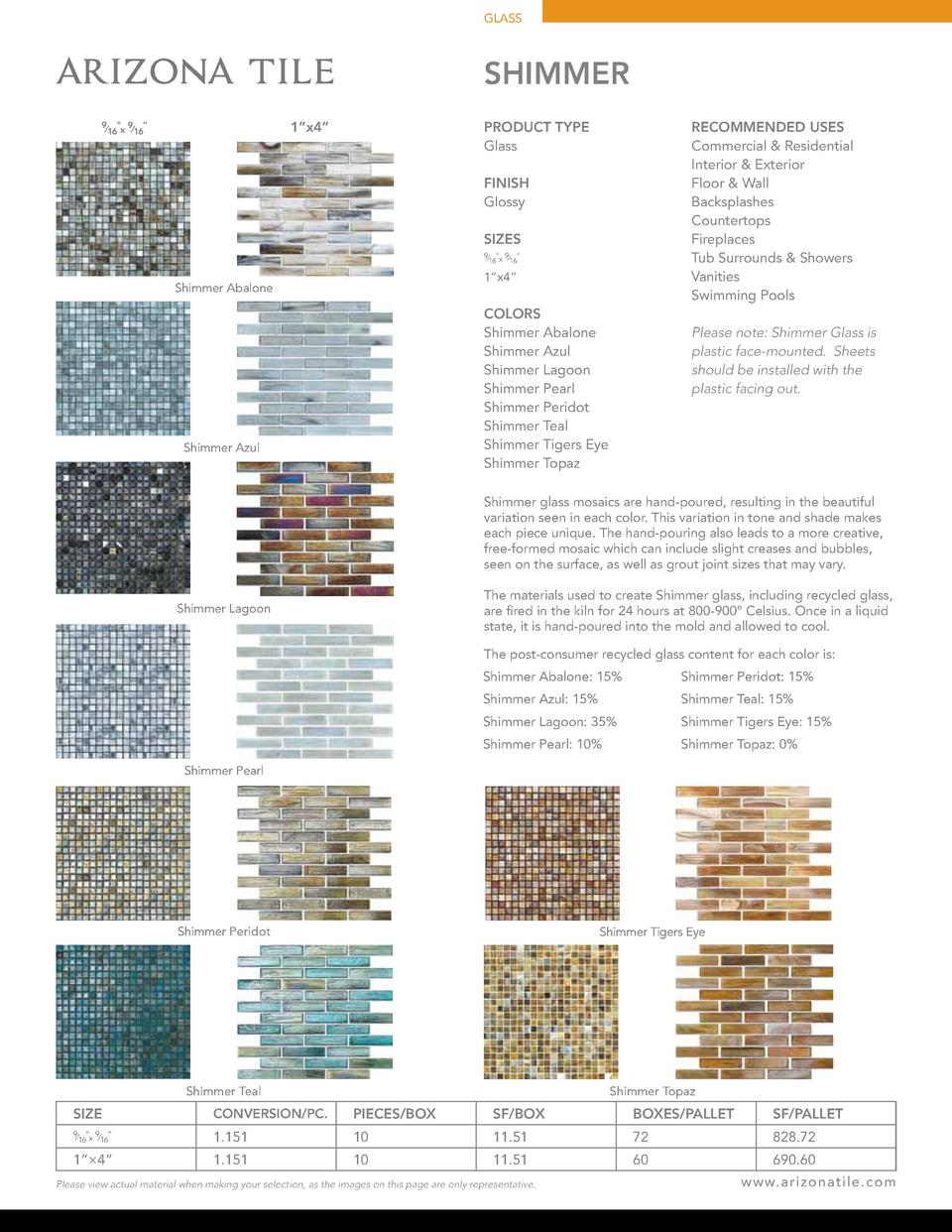 GLASS  SHIMMER 1   x4     9     9      16 x  16  RECOMMENDED USES Commercial   Residential Interior   Exterior Floor   Wal...
