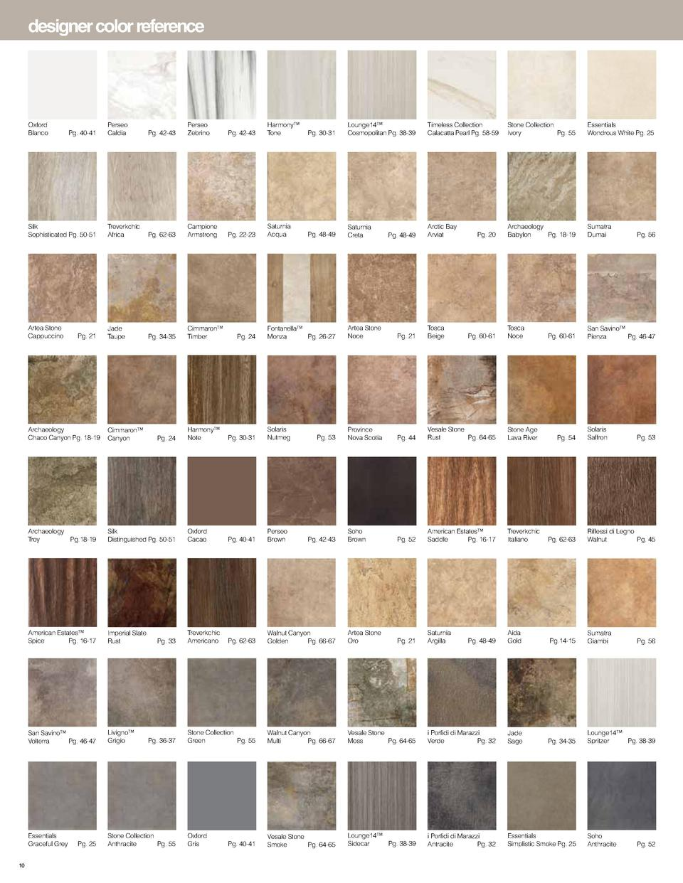 designer color reference  Oxford Blanco   Perseo Caldia   Pg. 42-43  Perseo Zebrino   Pg. 42-43  Harmony    Tone   Pg. 30-...