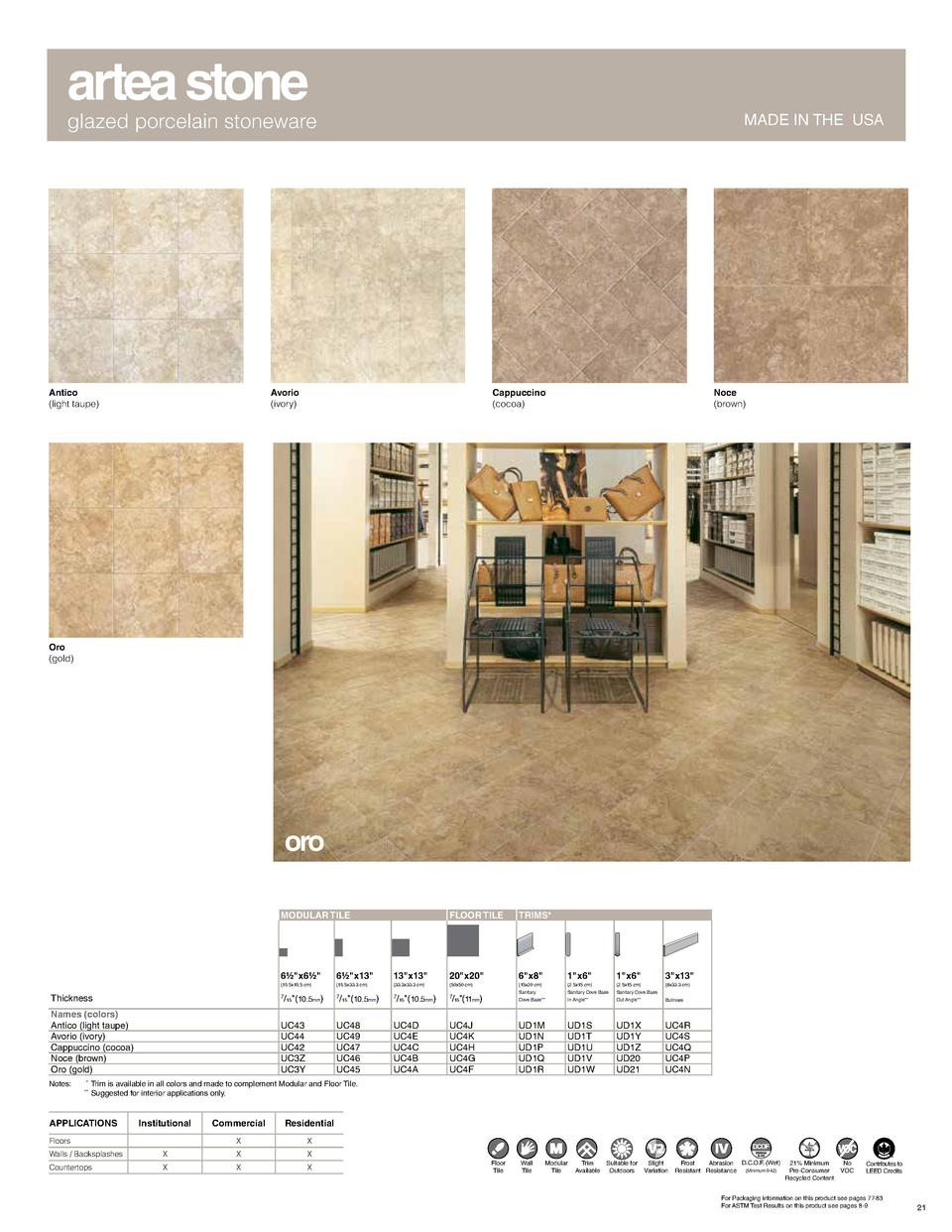 artea stone  glazed porcelain stoneware  Antico  light taupe   MADE IN THE USA  Avorio  ivory   Cappuccino  cocoa   Noce  ...