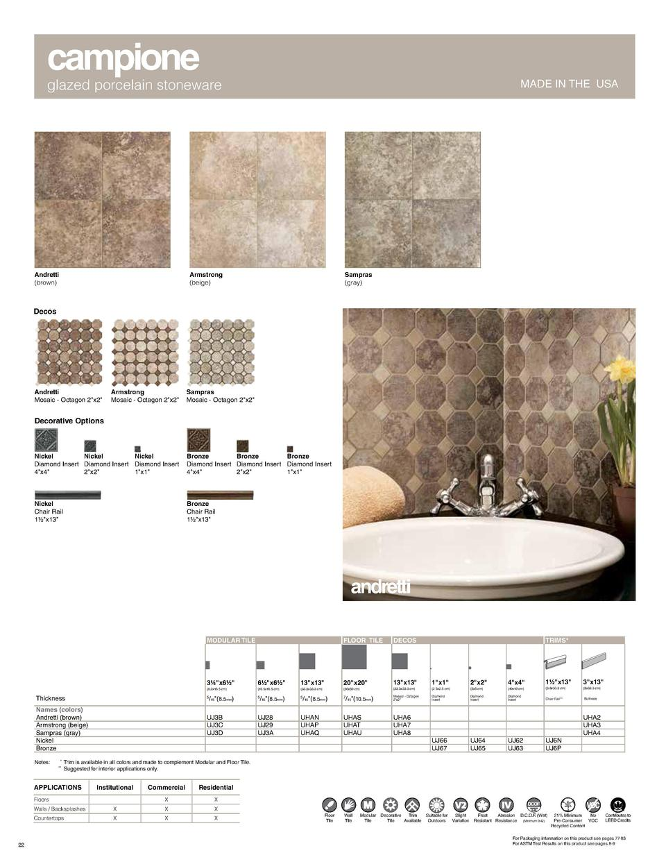 campione  glazed porcelain stoneware  Andretti  brown   MADE IN THE USA  Armstrong  beige   Sampras  gray   Decos  Andrett...