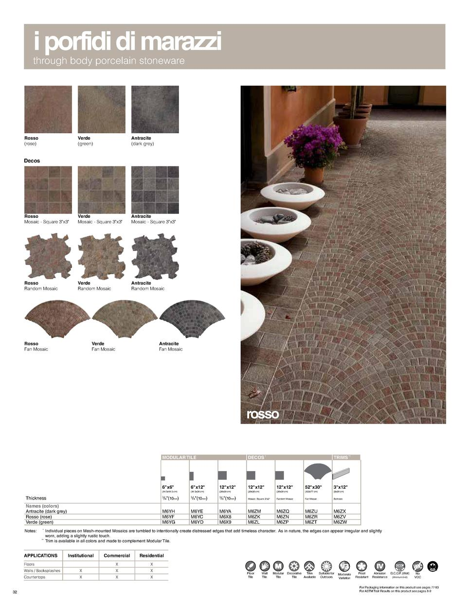 i porfidi di marazzi through body porcelain stoneware  Rosso  rose   Verde  green   Antracite  dark grey   Rosso Mosaic - ...