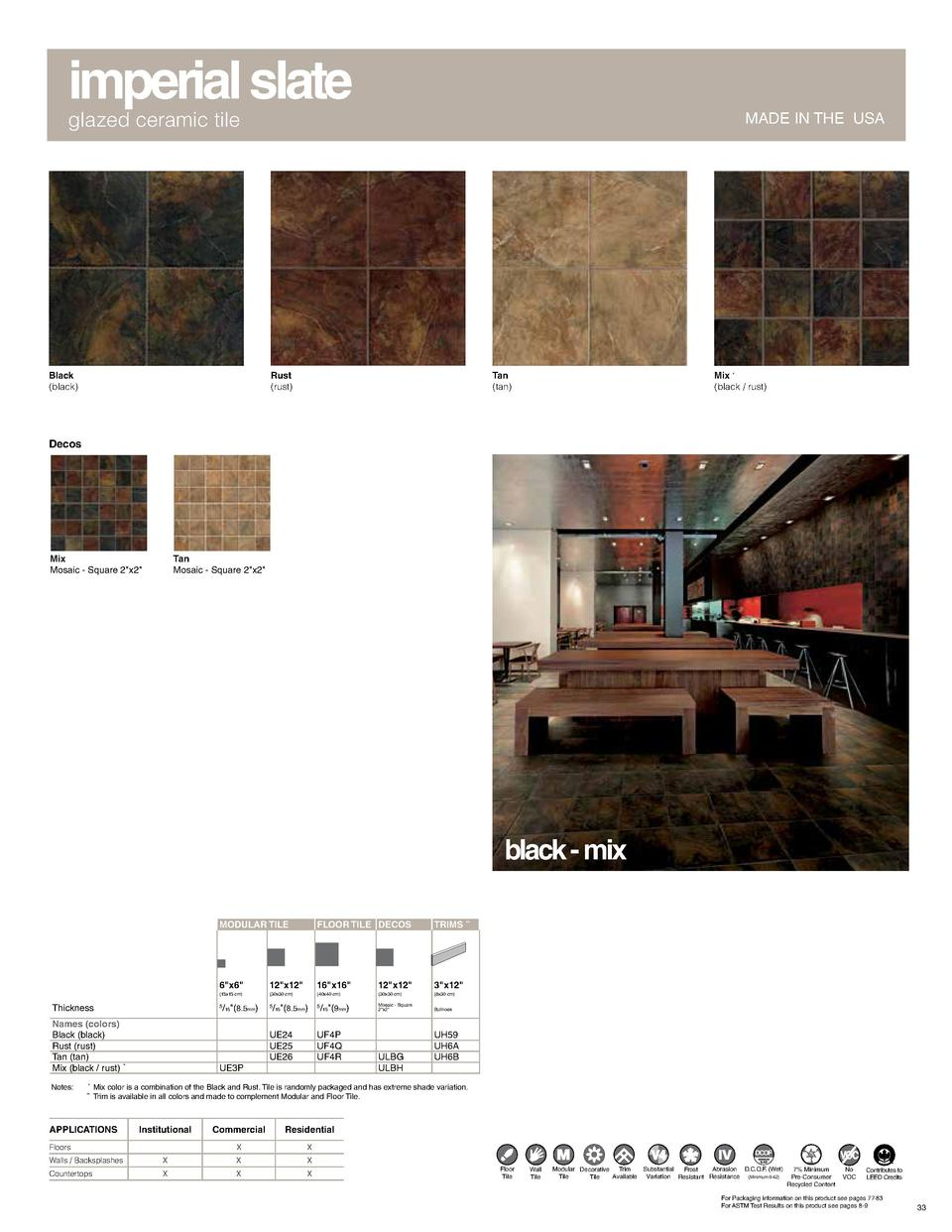 imperial slate glazed ceramic tile  Black  black   MADE IN THE USA  Rust  rust   Tan  tan   Mix    black   rust   Decos  M...
