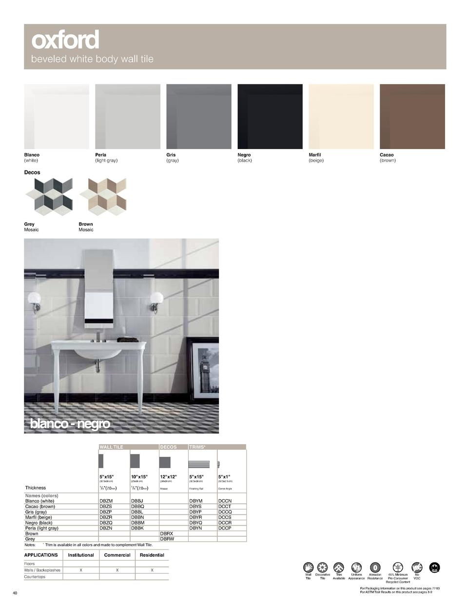 oxford  beveled white body wall tile  Blanco  white   Perla  light gray   Gris  gray   Negro  black   Marfil  beige   Caca...