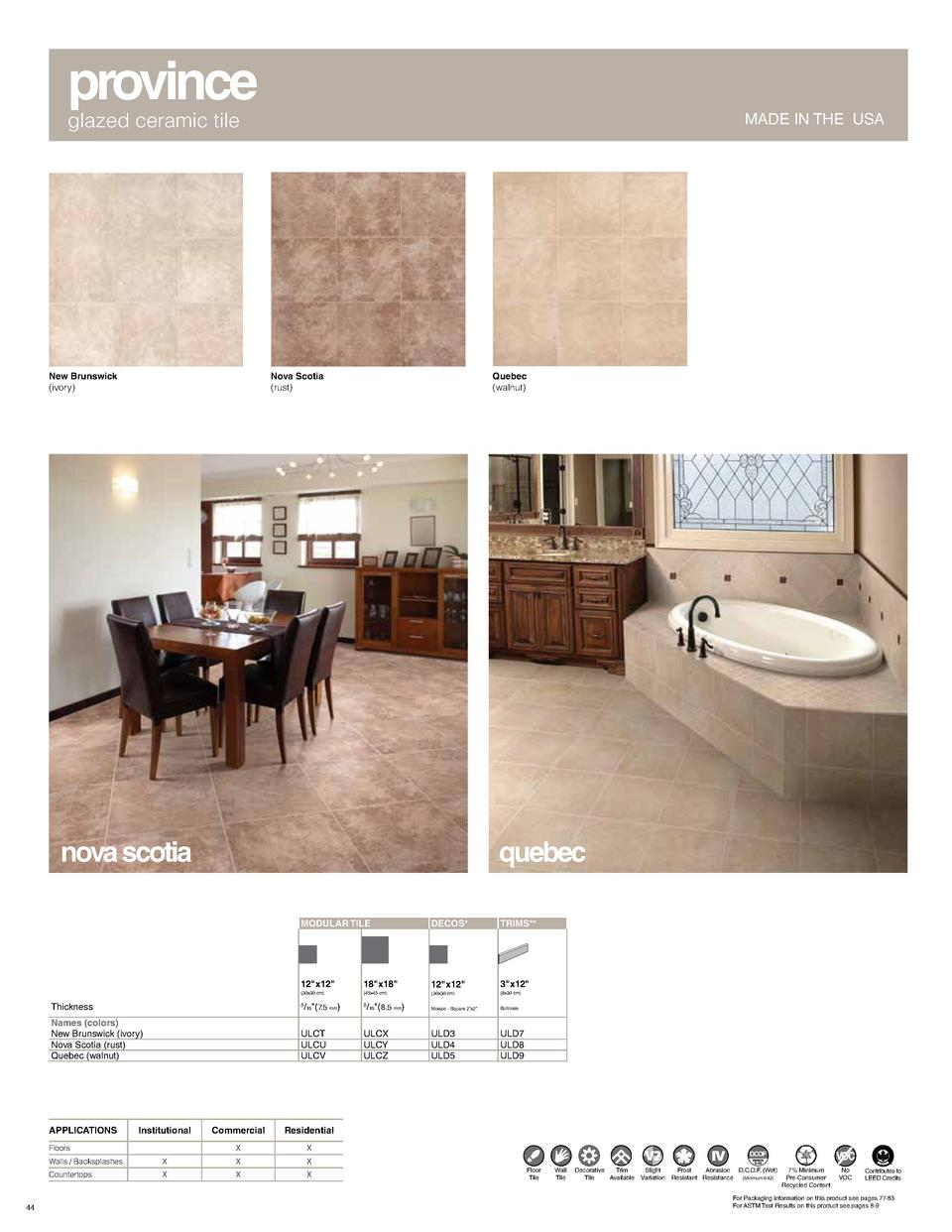 province glazed ceramic tile  New Brunswick  ivory   MADE IN THE USA  Nova Scotia  rust   Quebec  walnut   nova scotia  qu...