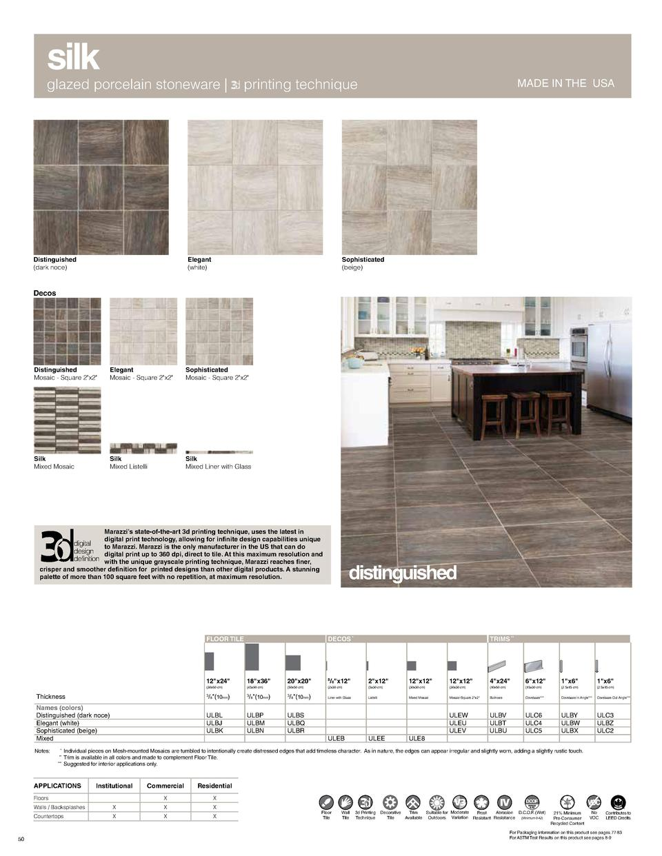 MADE IN THE USA  silk  glazed porcelain stoneware    printing technique  Elegant  white   Distinguished  dark noce   MADE ...