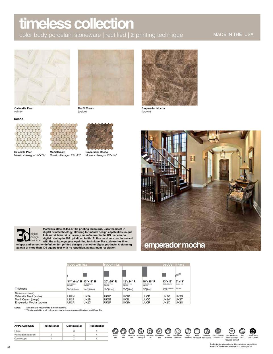 timeless collection color body porcelain stoneware   rectified    Calacatta Pearl  white   Marfil Cream  beige   printing ...