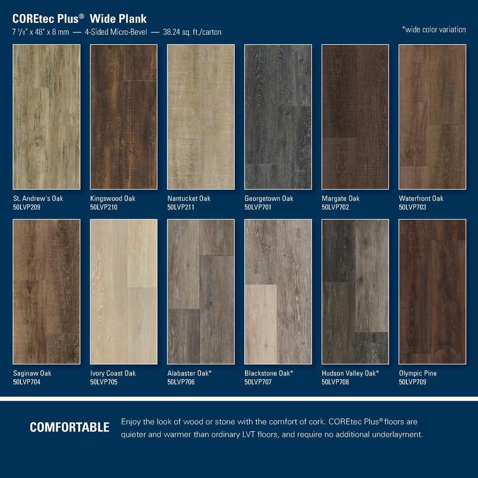 COREtec Plus   Wide Plank   wide color variation  7 1  8  x 48  x 8 mm     4-Sided Micro-Bevel     38.24 sq. ft. carton  S...