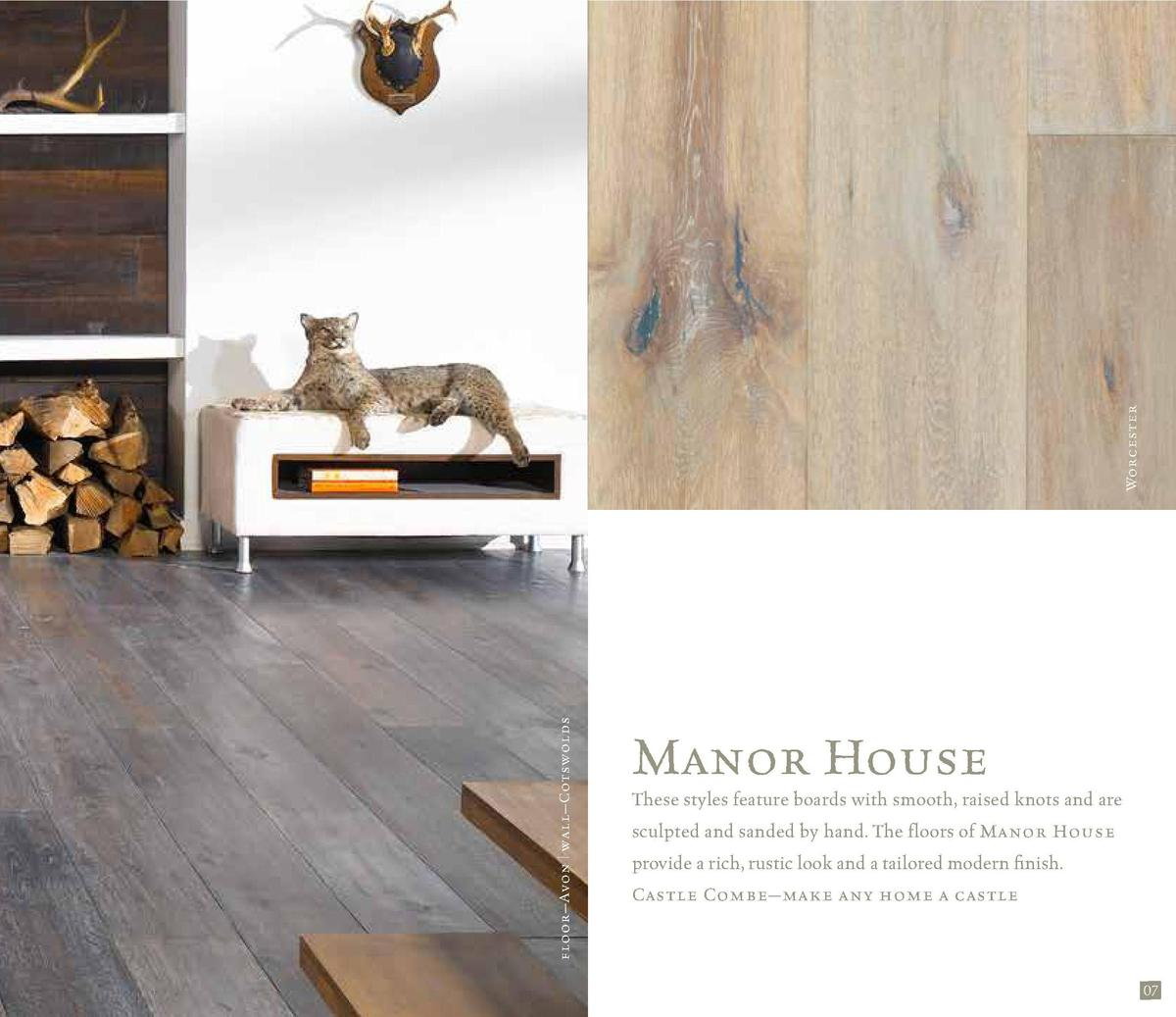 Worcester floor   Avon   wall   Cotswolds 06  Manor House These styles feature boards with smooth, raised knots and are sc...