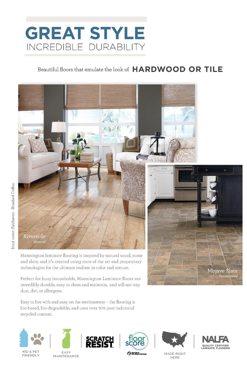 GREAT STYLE INCREDIBLE DURABILITY  front cover  Fairhaven -Brushed Coffee  Beautiful floors that emulate the look of  HARD...