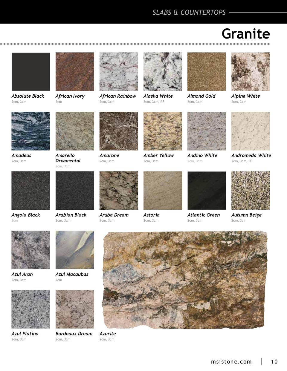 SLABS   COUNTERTOPS  Granite  Absolute Black  African Ivory  African Rainbow  Alaska White  Almond Gold  Alpine White  2cm...