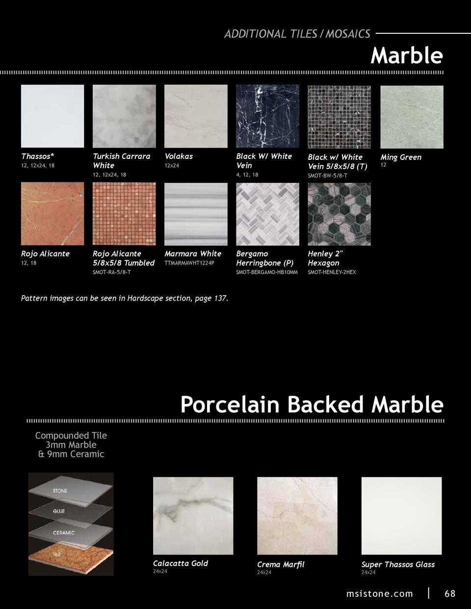 ADDITIONAL TILES  MOSAICS  Marble  Thassos  12, 12x24, 18  Turkish Carrara White  Volakas  Rojo Alicante 12, 18  Rojo Alic...